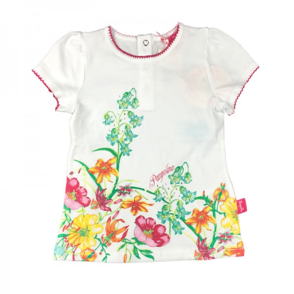 PAMPOLINA 6563061 T-Shirt 1/4 Arm - White Flowers