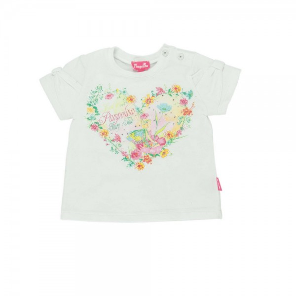 PAMPOLINA Mädchen T-Shirt 1/4 Arm - WHITE FLOWERS 6563071